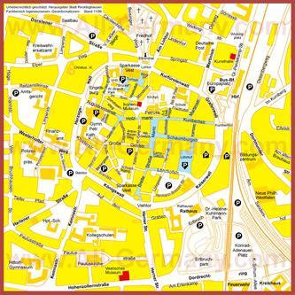 Туристическая карта Реклингхаузена с достопримечательностями