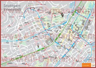 Туристическая карта Штуттгарта с достопримечательностями