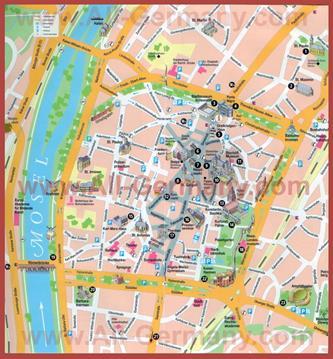 Туристическая карта Трира с достопримечательностями