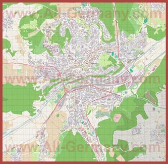 Подробная карта города Тюбинген