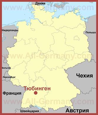 Тюбинген на карте Германии