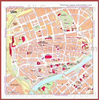 Туристическая карта Ульма с достопримечательностями