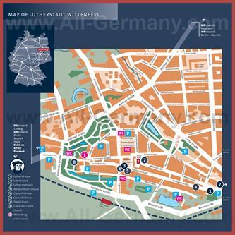 Туристическая карта Виттенберга с достопримечательностями