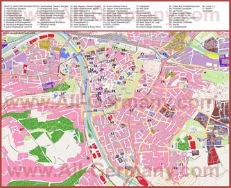 Туристическая карта Вюрцбурга с достопримечательностями и отелями