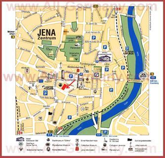 Туристическая карта Йены с достопримечательностями