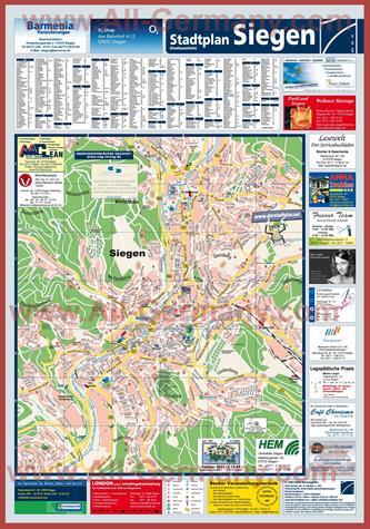 Туристическая карта Зигена с достопримечательностями